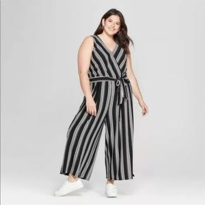 Ava & Viv Black and White Striped Jumpsuit